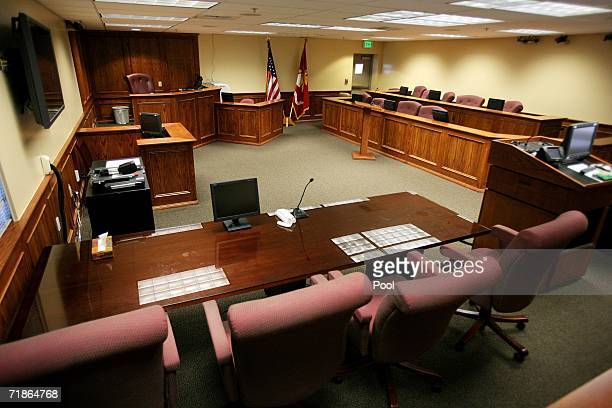 The military courtroom where Lance Cpl Jerry E Shumate Jr is appearing as a defendant in an Article 32 Investigation hearing is seen on September 12...