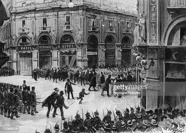 The military occupy the Galleria Vittorio Emanuele II the famous shopping arcade in Milan during a riot 1890