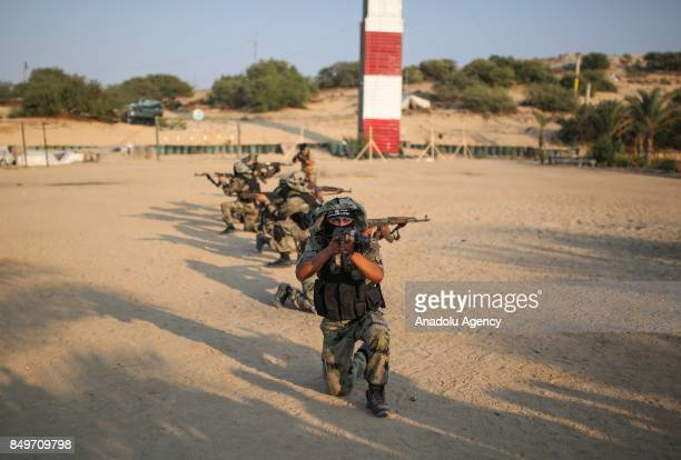 The military wing of the Popular Resistance Committees The alNasser Salah alDeen Brigades members are seen during a military training in Khan Yunis...