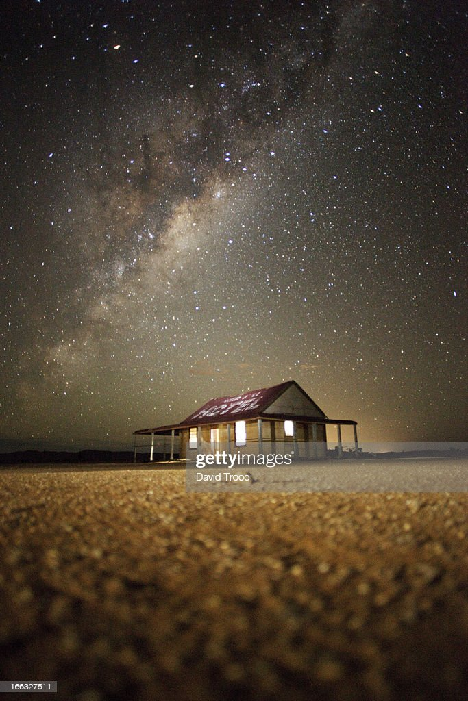 The Milky Way and an outback shed : Stock Photo