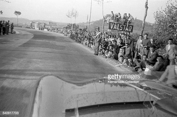 The Mille Miglia May 1 1955 Even on country corners the crowds were everywhere A mistake would lead to tragedy carabinieri included