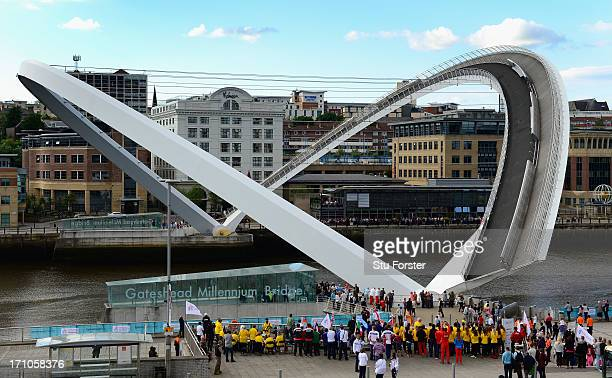 The Millennium Bridge opens as part of the opening ceremony for the European Athletics Team Championships at the Quayside on June 21 2013 in...