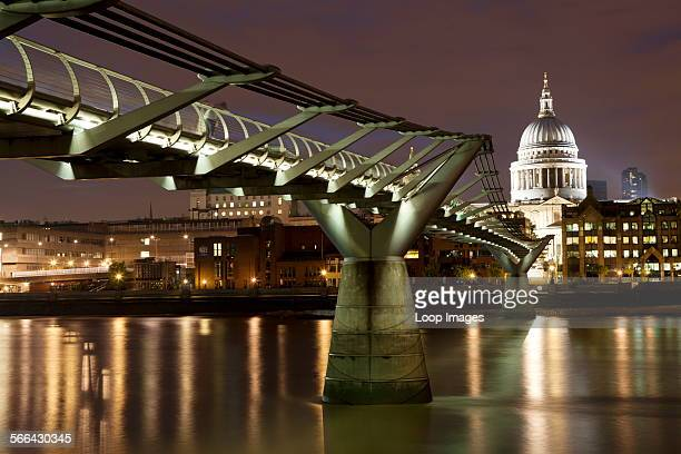 The Millennium Bridge spanning the River Thames between Bankside on the South Bank and St Paul's Cathedral on the North Bank