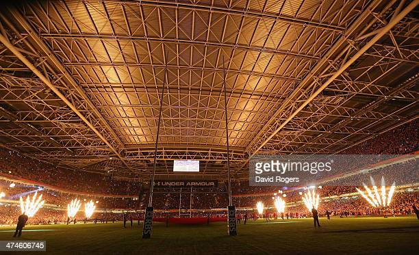 The Millennium Stadium's roof is closed as the flames greet the teams during the RBS Six Nations match between Wales and France at the Millennium...