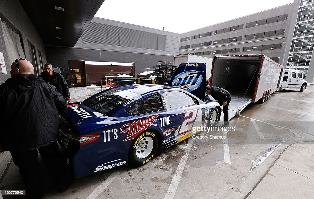 The #2 Miller Light Ford driven by Brad Keselowski (not pictured) is loaded into the Road to Daytona Fueled By Sunoco Tour hauler after a breakfast roundtable discussion featuring the Gen-6 car on February 5, 2013 at the College for Creative Studies in Detroit, Michigan.