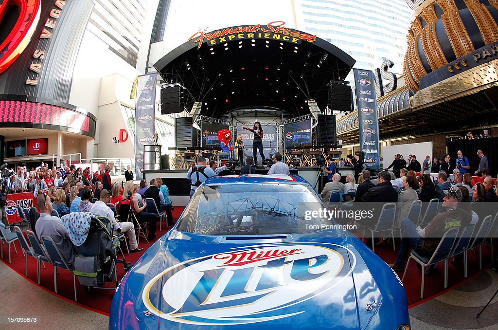 The #2 Miller Lite Dodge driven by 2012 Sprint Cup Champion Brad Keselowski (not pictured) is seen in front of the stage during NASCAR Fanfest presented by Las Vegas Motor Speedway at the Fremont Street Experience on November 28, 2012 in Las Vegas, Nevada.