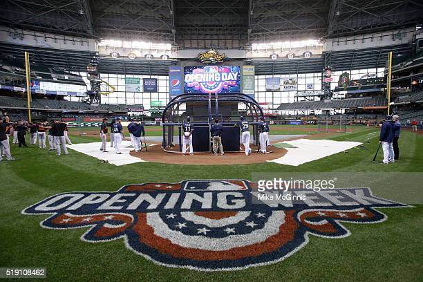 The Milwaukee Brewers take batting practice before the game against the San Francisco Giants Milwaukee Brewers on Opening Day at Miller Park on April...