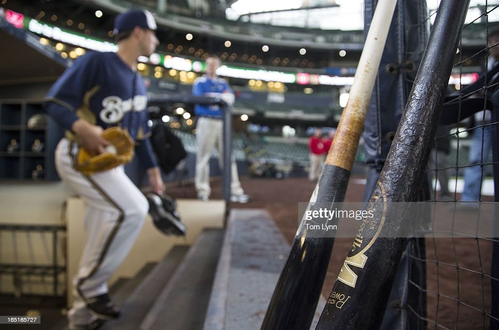 The Milwaukee Brewers take the field for batting practice before the game against the Colorado Rockies on opening day at Miller Park on April 1, 2013 in Milwaukee, Wisconsin.