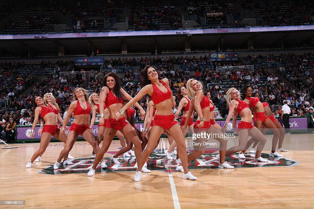 The Milwaukee Bucks dancers during halftime of the game against the Indiana Pacers on November 14, 2012 at the BMO Harris Bradley Center in Milwaukee, Wisconsin.