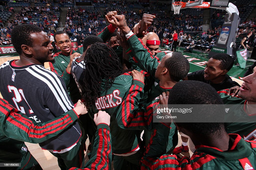 The Milwaukee Bucks huddle up before the game against the Utah Jazz on March 4, 2013 at the BMO Harris Bradley Center in Milwaukee, Wisconsin.