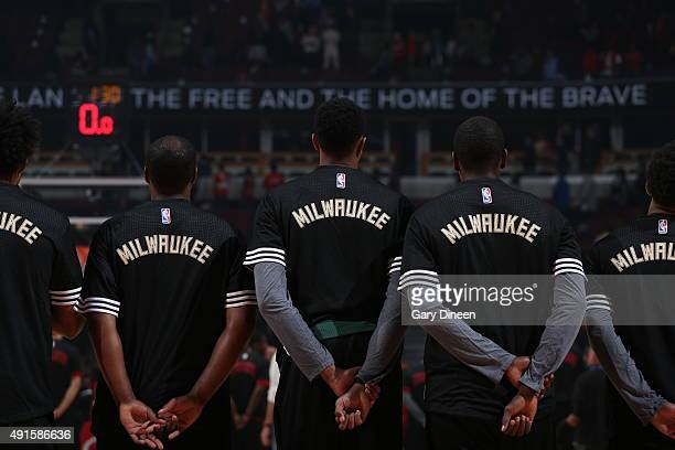The Milwaukee Bucks line up before the game against the against the Chicago Bulls during a preseason game on October 6 2015 at the United Center in...