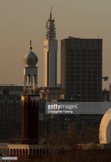 The minaret of Birmingham Central Mosque stands against the skyline of Birmingham on March 23 2017 in Birmingham England After yesterday's London...