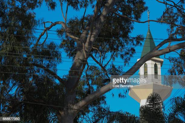 The minaret of the Lakemba Mosque photographed through Australian eucalyptus trees in the southwestern suburb of Lakemba on May 27 2017 in Sydney...