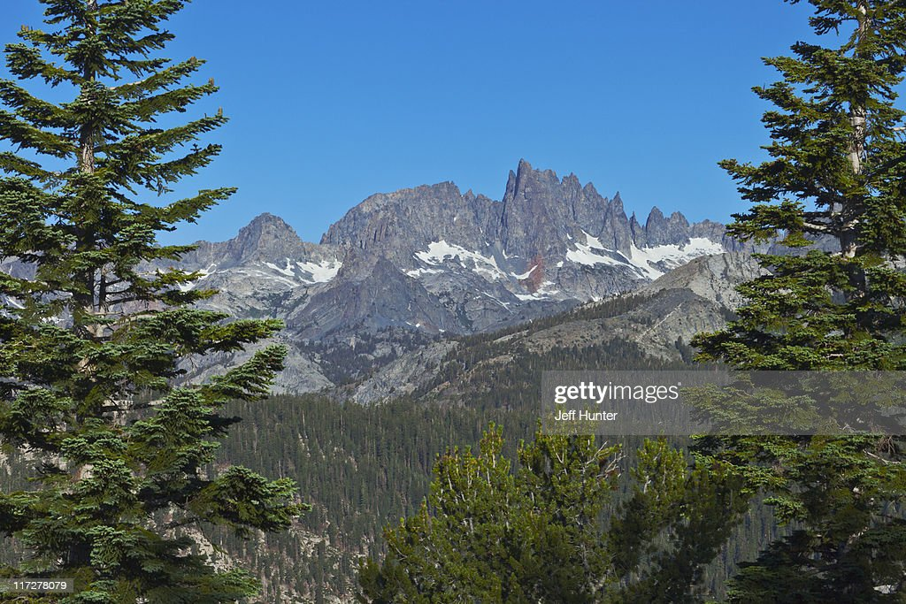 Sierra Nevada Ca: The Minarets Of The Sierra Nevada Mountains Ca Stock Photo