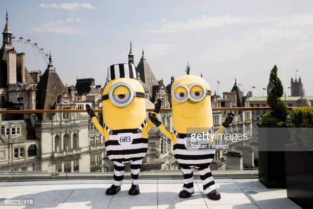 The Minions attend a photo call in London to celebrate the release of DESPICABLE ME 3 on June 30th at Corinthia Hotel London on June 21 2017 in...