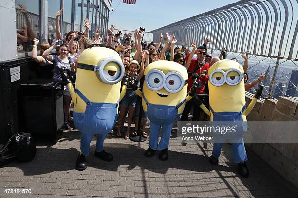 The Minions Stuart Bob and Kevin visit The Empire State Building on June 25 2015 in New York City