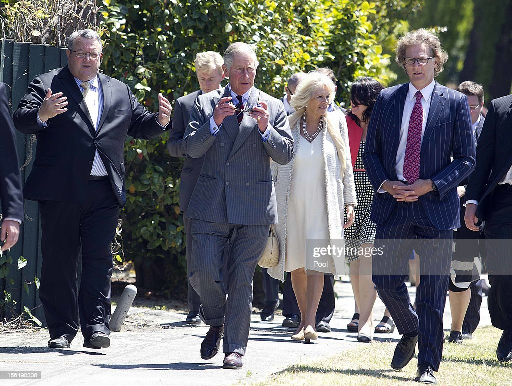 The Minister for Canterbury Earthquake Recovery Gerry Brownlee, Prince Charles, Prince of Wales, Camilla, Duchess of Cornwall and Chief Executive of the Canterbury Earthquake Recovery Agency, Roger Sutton tour Oxford Terrace on November 16, 2012 in Christchurch, New Zealand. Oxford Terrace was damaged in the 2010 earthquake. The Royal couple are in New Zealand on the last leg of a Diamond Jubilee that takes in Papua New Guinea, Australia and New Zealand.