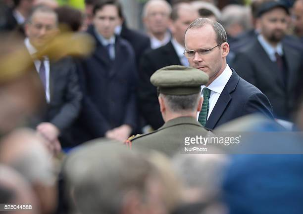 The Minister for Defence Simon Coveney during s ceremony to mark the 99th Anniversary of the 1916 Rising at GPO Dublin Ireland on April 5 2015