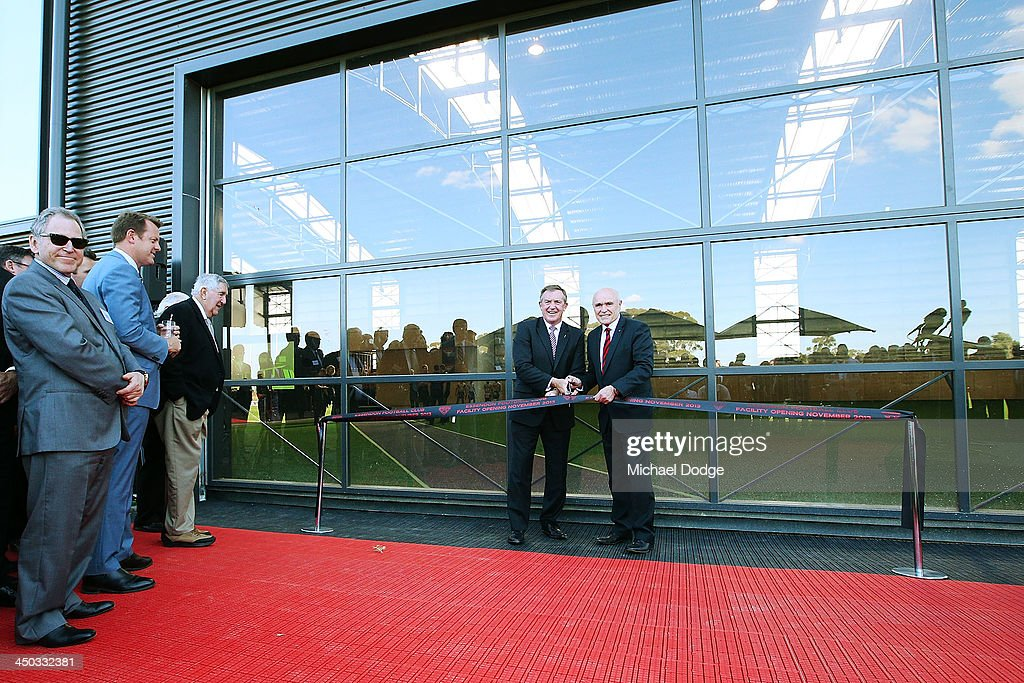 The Minister For Sport The Hon. Hugh Delahunty and Bombers president Paul Little officially launch the new Essendon Bombers AFL training facility at Tullamarine on November 18, 2013 in Melbourne, Australia.