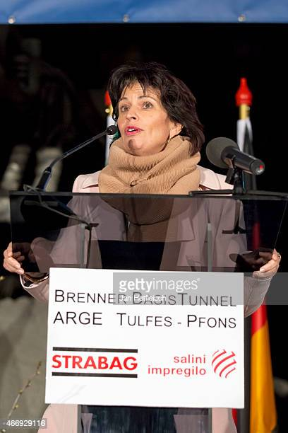 The minister for Transport of Switzerland Doris Leuthard speaks to the audience during the inauguration of the tunnel construction of the Brenner...