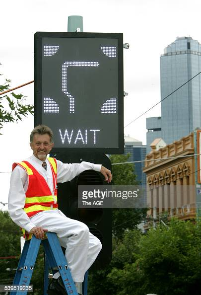 The minister for transport Peter Batchelor in South Melbourne poses by the new sign for the first hook turn outside of the CBD Taken 5th of January...
