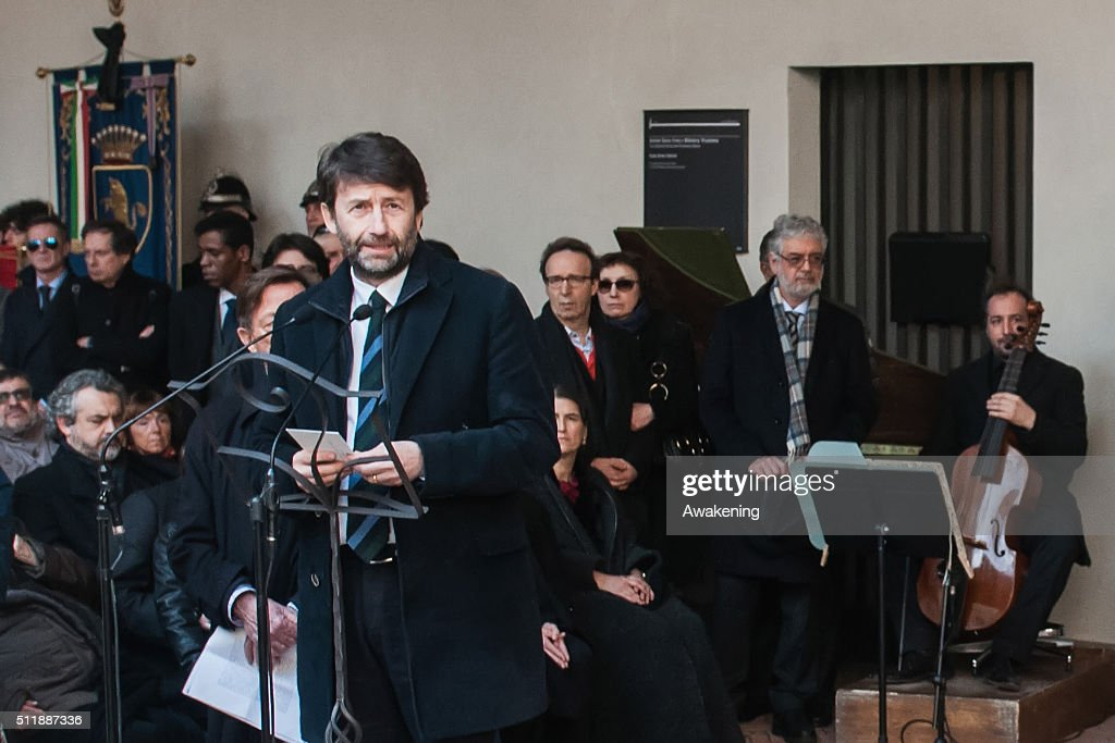 The Minister of Culture <a gi-track='captionPersonalityLinkClicked' href=/galleries/search?phrase=Dario+Franceschini&family=editorial&specificpeople=4851356 ng-click='$event.stopPropagation()'>Dario Franceschini</a> speaks near the coffin of renowned Italian writer and academic Umberto Eco during the funeral ceremony at Castello Sforzesco on February 23, 2016 in Milan, Italy.