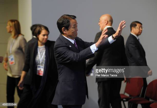 The Minister of Finance of JapanTaro Aso attends the AsiaEurope Meeting summit on September 12 2014 in Milan Italy Finance Ministers are meeting and...