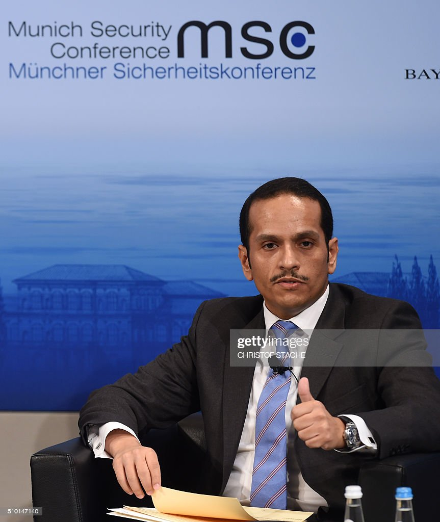 The Minister of Foreign Affairs of Qatar Sheikh Mohammed bin Abdulrahman bin Jassim al-Thani attends a panel discussion on the third day of the 52nd Munich Security Conference (MSC) in Munich, southern Germany, on February 14, 2016. / AFP / Christof STACHE