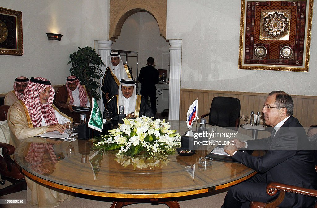 The Minister of Foreign Affairs of Russia Sergey Lavrov (R) meets with with his Saudi counterpart Saud al-Faisal (L) and Secretary General of the Gulf Cooperation Council (GCC) Abdullatif al-Zayani, on November 14, 2012 Riyadh . RESTRICTED TO EDITORIAL USE - MANDATORY CREDIT 'AFP PHOTO/HO/SPA' - NO
