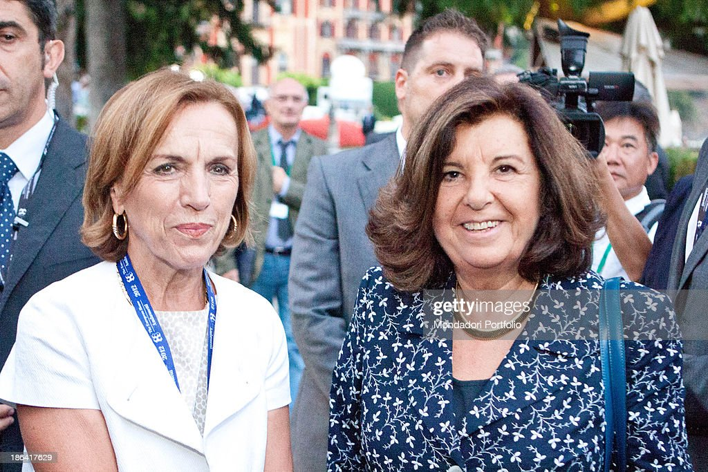 The Minister of Justice of the Italian Republic Paola Severino and the Minister of Labour and Social Policy of the Italian Republic <a gi-track='captionPersonalityLinkClicked' href=/galleries/search?phrase=Elsa+Fornero&family=editorial&specificpeople=8642721 ng-click='$event.stopPropagation()'>Elsa Fornero</a> smiling at the annual international economic forum called Intelligence on the World, Europe, and Italy held by The European House Ambrosetti at Villa d'Este. Cernobbio, 10th September 2012.
