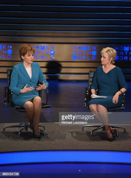 The Minister of Scotland Nicola Sturgeon and Journalist Tina Brown speak during the Eighth Annual Women In The World Summit at Lincoln Center for the...
