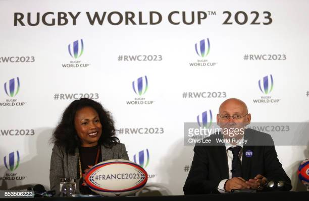 The Minister of Sport Laura Flessel and the President of the French Rugby Federation Bernard Laporte during the Rugby World Cup 2023 Bid...