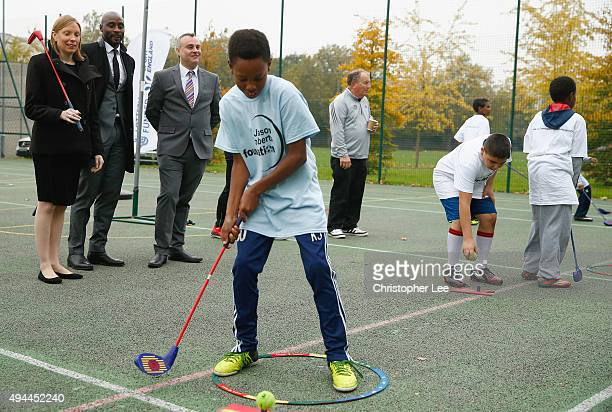 The Minister of Sport Tracey Crouch with the Sport England Director of Community Sport Mike Diaper and Ex Professional Footballer Jason Roberts of...