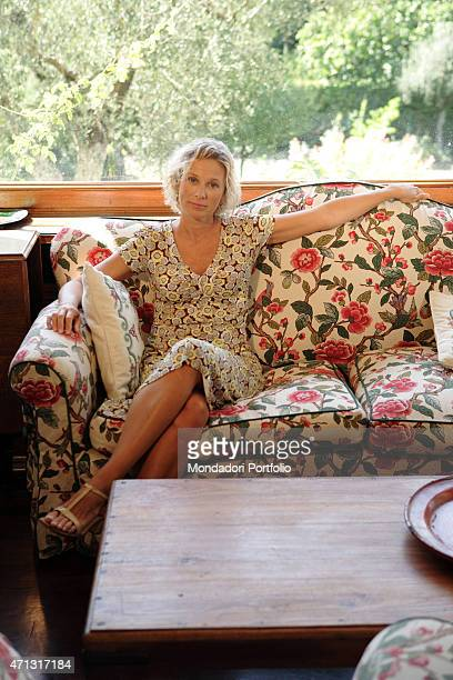 The Ministry for Youth Policies and Sport of the Republic of Italy Giovanna Melandri posing for a photo shooting in the house where she lives with...