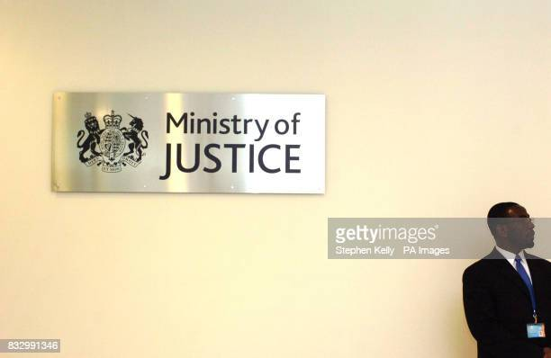 The Ministry of Justice sign in the entrance of Selbourne House Victoria central London