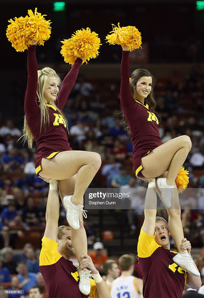 The Minnesota Golden Gophers cheerleaders perform during the game against the UCLA Bruins during the second round of the 2013 NCAA Men's Basketball Tournament at The Frank Erwin Center on March 22, 2013 in Austin, Texas.