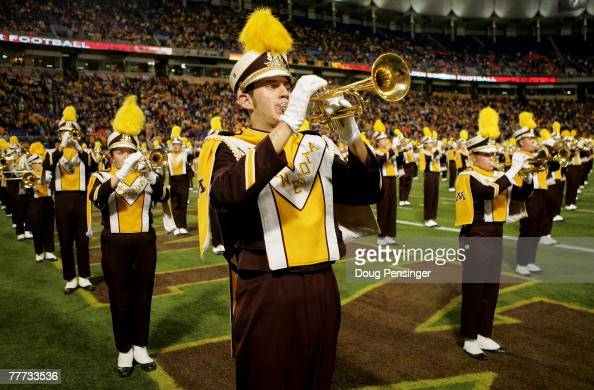 The Minnesota Golden Gophers marching band performs prior to facing the Illinois Fighting Illini at the Hubert H Humphrey Metrodome on November 3...