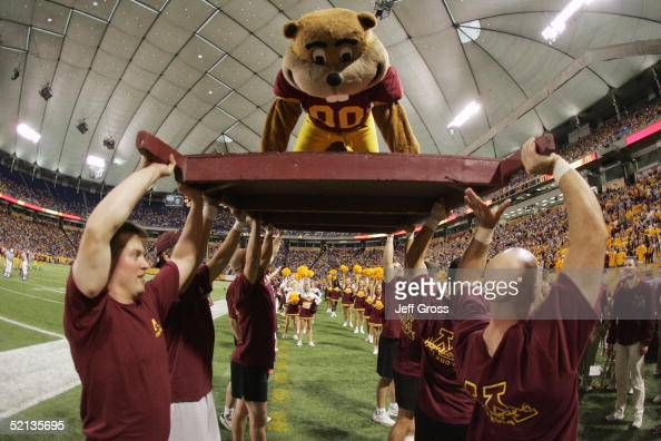 The Minnesota Gophers mascot entertains the crowd during the game against the Illinois Fighting Illini at the Hubert H Humphrey Metrodome on October...