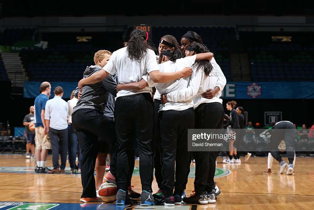 The Minnesota Lynx are seen before the game against the New York Liberty on June 29, 2016 at Target Center in Minneapolis, Minnesota.