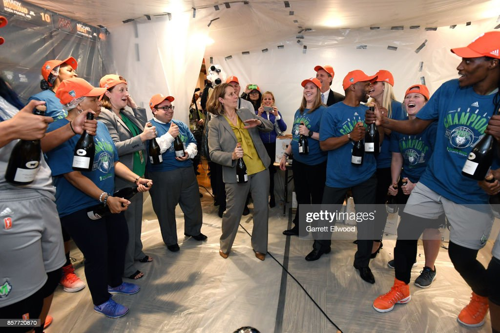 The Minnesota Lynx celebrate their victory with champagne after they defeat the Los Angeles Sparks in Game Five of the 2017 WNBA Finals on October 4, 2017 in Minneapolis, Minnesota.  NOTE