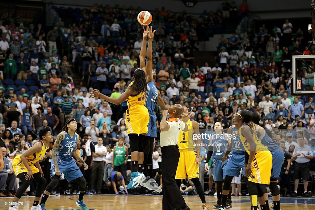 The Minnesota Lynx goes for the tip off against the Los Angeles Sparks during the game during the WNBA game on June 24, 2016 at Target Center in Minneapolis, Minnesota.