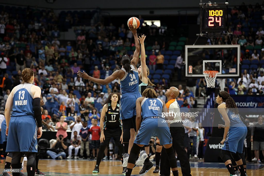 The Minnesota Lynx goes for the tip off during the game against the New York Liberty during the WNBA game on June 29, 2016 at Target Center in Minneapolis, Minnesota.