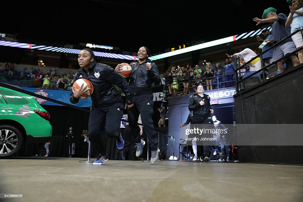 The Minnesota Lynx head out to the court before the game against the Los Angeles Sparks during the WNBA game on June 24, 2016 at Target Center in Minneapolis, Minnesota.