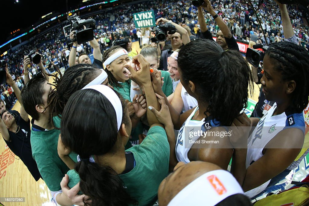 The Minnesota Lynx huddle after their second victory after Game 2 of the 2013 WNBA Finals on October 8, 2013 at Target Center in Minneapolis, Minnesota.