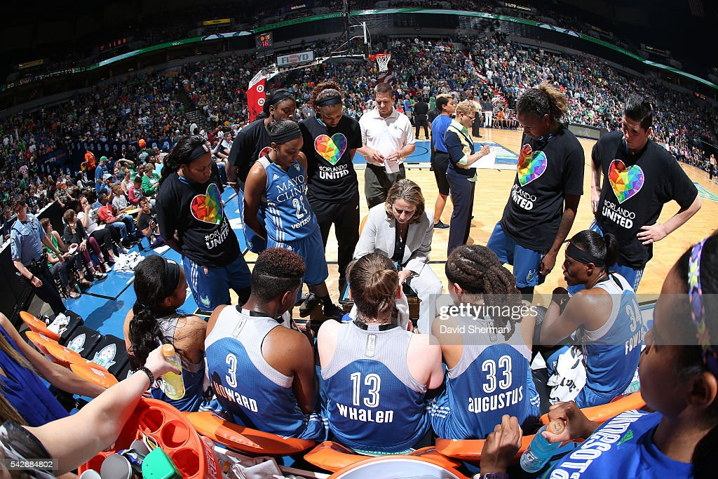 The Minnesota Lynx huddle up during the game against the Los Angeles Sparks during the WNBA game on June 24, 2016 at Target Center in Minneapolis, Minnesota.