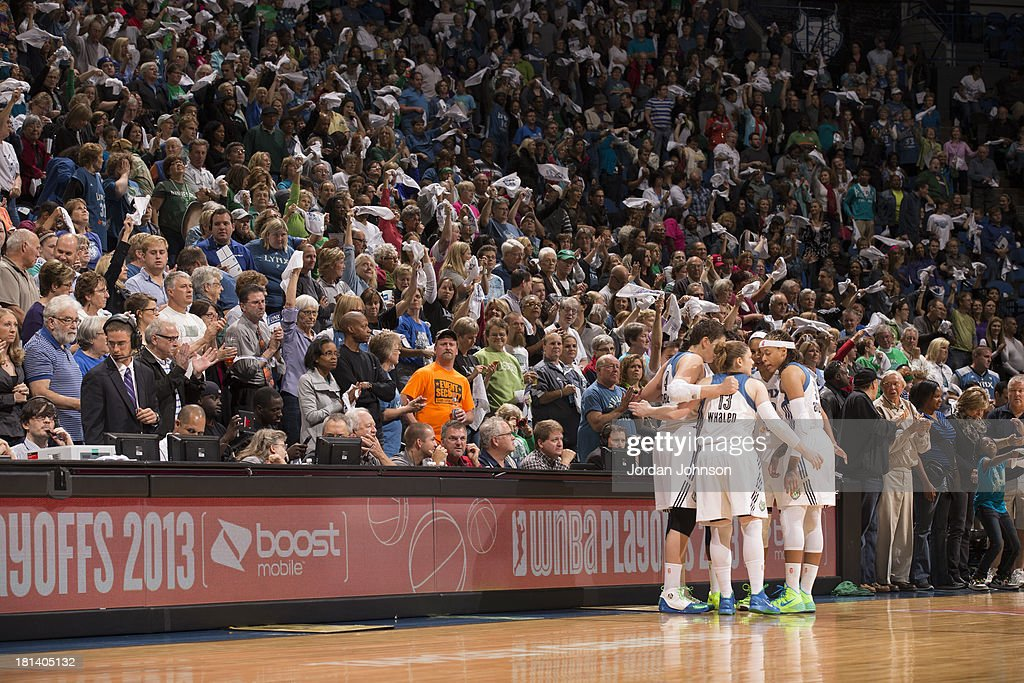 The Minnesota Lynx huddle up prior to the game against the Seattle Storm during the WNBA Western Conference Semifinals Game 1 on September 20, 2013 at Target Center in Minneapolis, Minnesota.