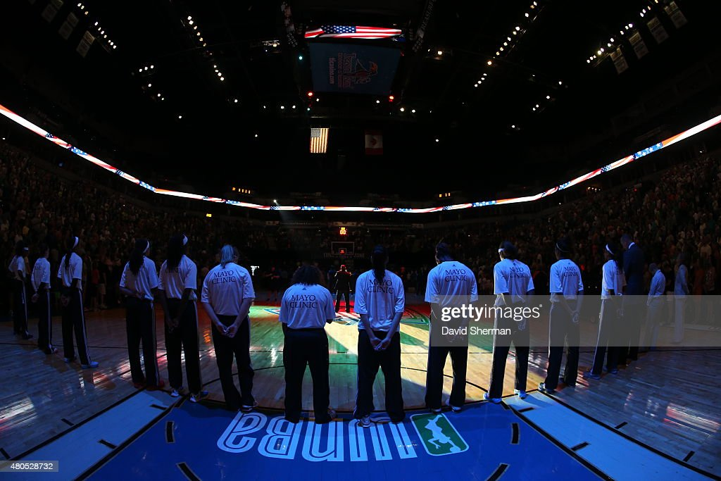 The Minnesota Lynx line up for the national anthem before the game against the San Antonio Stars on July 12, 2015 at Target Center in Minneapolis, Minnesota.