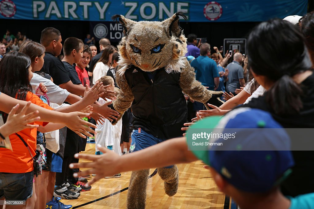 The Minnesota Lynx mascot is introduced before the game against the New York Liberty on June 29, 2016 at Target Center in Minneapolis, Minnesota.