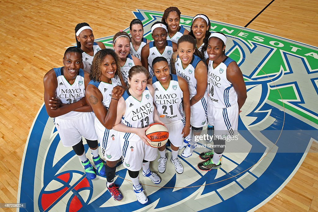 The Minnesota Lynx pose for the annual team photo on September 6, 2015 at Target Center in Minneapolis, Minnesota.