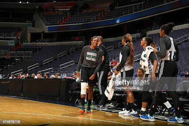 The Minnesota Lynx stand on the court during a game against the Washington Mystics during an Analytic Scrimmage at the Verizon Center on May 26 2015...